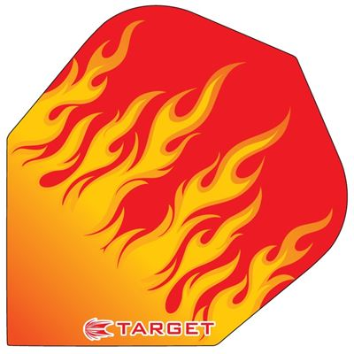 Target Darts Red with Orange Flames - Pro 100 Flight  Standard