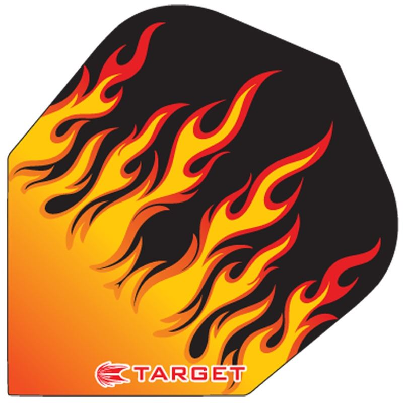 Target Darts Black with Red and Orange Flames - Pro 100 Flight Standard