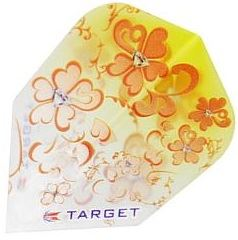 Target Darts Girl Play Yellow with Orange Flowers - Pro 100 Flight  Standard